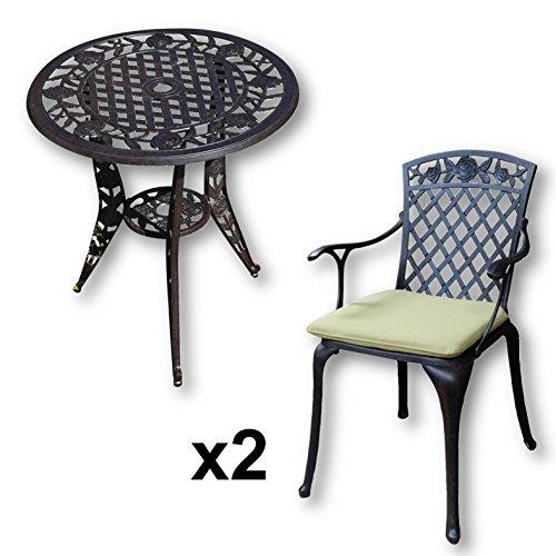 Grün Gartenmöbel (Lazy Susan - ROSE Bistrotisch mit 2 Stühlen - Rundes Gartenmöbel Set aus Metall, Antik Bronze (ROSE Stühle, Grüne Kissen))
