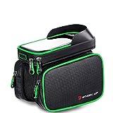 Marsupio per bicicletta ciclismo anteriore borse per Smart Phone Holder impermeabile bicicletta sacchetto supporto Fit per il cellulare all' interno 15,2�cm top Tube bag, Green piping