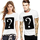 BURFLY Paar t-Shirt Mens Lovers Drucken Tees Hemd Digitaldruck Rundhals Kurzarm T-Shirt Bluse Tops (M, Weiß-A)