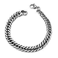 BODYA Jewelry Mens Stainless Steel Link Wrist Bracelet Cuban Curb Chain Black Silver Bracelet 8 Inch