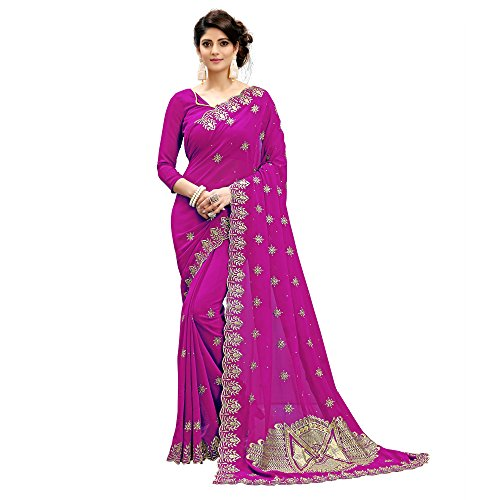 Siddeshwary Fab Women's Pink Faux Georgette Saree With Blouse Piece