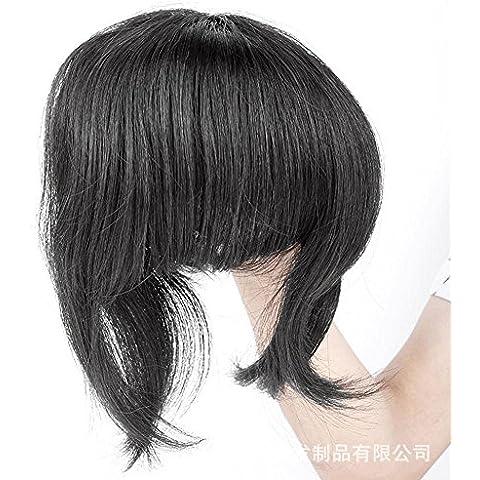 Meydlee Extension Posticci 3 pezzi corti ordinate Clip in capelli Bang frangia nera naturale aspetto naturale capelli lisci estensione dei capelli pezzo , natural black