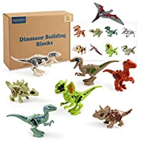 BeebeeRun 8pcs Dinosaur Toys for Kids, Mini Dinosaur Building Blocks Toys Set for Boys Girls Gifts, with Dinosaur Sticker