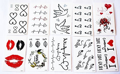 wolga-kreativ-tattoo-set-10-bogen-wie-hauptbild-herz-kuss-lippen-unendlichkeit-schriftzug-liebe-temp