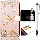 Sunroyal® Housse Samsung Galaxy A3 (2016) SM-A310F Etui Coque en Leather PU Cuir Portefeuille Premium Crystal Diamant Strass Flip Case Cover de Protection Rabat Chic Pratique Pochette Porte Carte Magnetic Closure Rhinestone Cas Sac Swag Couvercle Rabattable PC Plastique Rigide Shell Couvrir Folio Couverture Coquille Arrière avec Belle Bling Fleur 3D Butterfly Papillon + Anti-poussière Plug + Stylet Tactile Pen