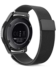 MoKo Samsung Gear S3 Frontier / Classic / Moto 360 2nd Gen 46mm Watch Armband - Edelstahl Milanese Magnet Uhr Band Strap Uhrenarmband Replacement für Samsung Gear S3 Classic Samrtwatch, Schwarz (Nicht für Gear S2 Classic)