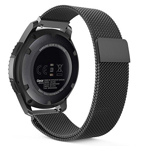 Samsung Magnet (MoKo Samsung Gear S3 Frontier / Classic / Moto 360 2nd Gen 46mm Watch Armband - Edelstahl Milanese Magnet Uhr Band Strap Uhrenarmband Replacement für Samsung Gear S3 Classic Samrtwatch, Schwarz (Nicht für Gear S2 Classic))
