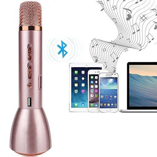 Micrófono Inalámbrico Portátil Bluetooth 3.0, FJOY K-Song K088 Handheld Con Altavoz Compatible Con Android, iPhone, Samsung, Otros Smartphone Karaoke Micrófono Batería de 2600mAh De Condensador Para Grabación De Voz Comprimidos Rosa