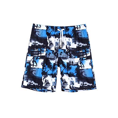 HIAO Sommer Shorts Männer Strand Polyesterfaser Sport Bequem Freizeit Urlaub Seaside Bunt Nähen Muster (Farbe : Blau, größe : (Herren Kostüm Nähen Muster)