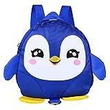 Rucksack Kinderrucksäcke Backpack Schultasche 3D Pinguin Kinder Kleinkinder mit Sicherheitsleine(Blau)