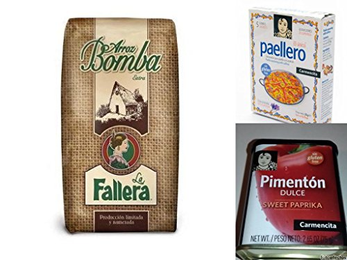 500gr Original spanischer Paella-Reis + Paella Gewürz von Carmencita (4x20g) für traditionelle Paella + Pimenton Dulce Paprikapulver rot, süss, mild 75 g