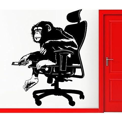 Adesivi da Parete in Vinile scimmia Ape Boss in sedia