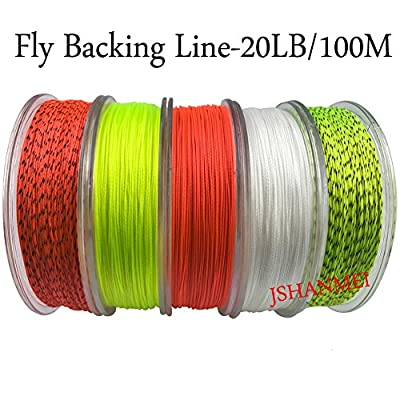 JSHANMEI Fly Fishing Backing Line Abrasion Resistant Braid Fly Fishing Line Backing Fishing Line 20LB 100M with Various Color from JSHANMEI