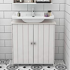 DlandHome 62 x 30 x 59CM Mueble para Debajo del Lavabo Armario bajo Lavabo para Cuarto de baño Minimalista, 2 Puertas & 1 Estante, Blanco