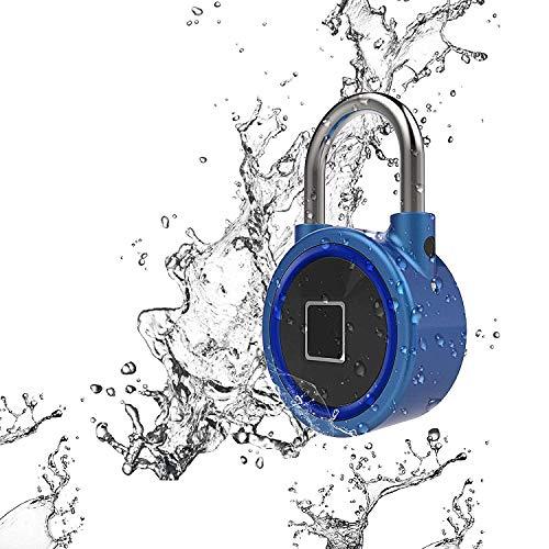 Fingerabdruck-Vorhängeschloss, Schlüsselloses Schloss IP65 Wasserdichte Smart Fingerprint Lock für Golftasche, Koffer, Gym Locker, Schrank, Schublade, Tür und Mehr(Blau)