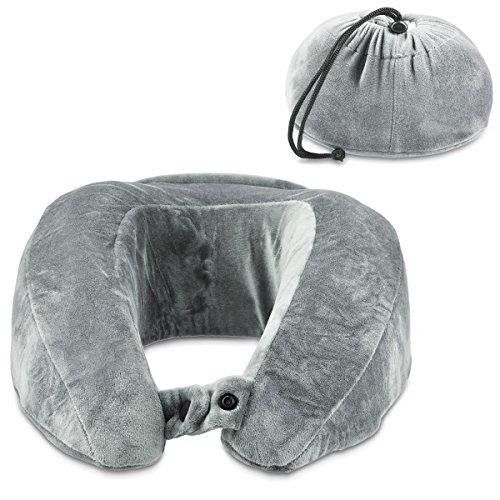 Navaris cuscino da viaggio per collo - cuscino cervicale poggiatesta ergonomico per viaggiare in aereo e auto travel pillow - grigio chiaro