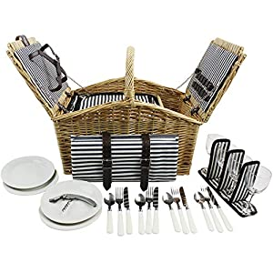 HappyPicnic Huntsman Picknickkorb aus Weiden für 4 Personen mit Doppel-Deckel und Kühlfach, Picknickset mit Decke…