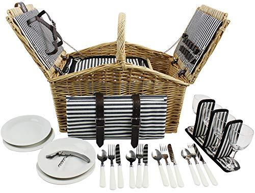 HappyPicnic 'Huntsman' Willow Picknickkorb für 4 Personen mit doppeltem Deckel und integriertem Isolierkühler, Willow Picnic Set (Navy Stripe) MEHRWEG