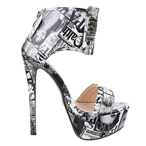 Damen Schuhe, QJ15109, SANDALETTEN HIGH HEELS PLATEAU PUMPS Grau Schwarz