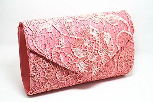 OME&QIUMEI Meine Damen, Spitze, Umschläge, Kuverts, Damen, Tasche Und Bankett Handtaschen Coral red