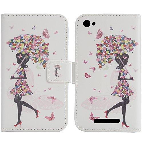 """Lankashi PU Flip Leder Tasche Hülle Case Cover Schutz Handy Etui Skin Für Creev Mark V Plus 5.5"""" (Umbrella Girl Design)"""