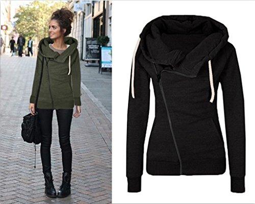Smile YKK Femme Mateau Sweat-shirt Cache-poussière Polaire Cape Uni Manches Longue Noir