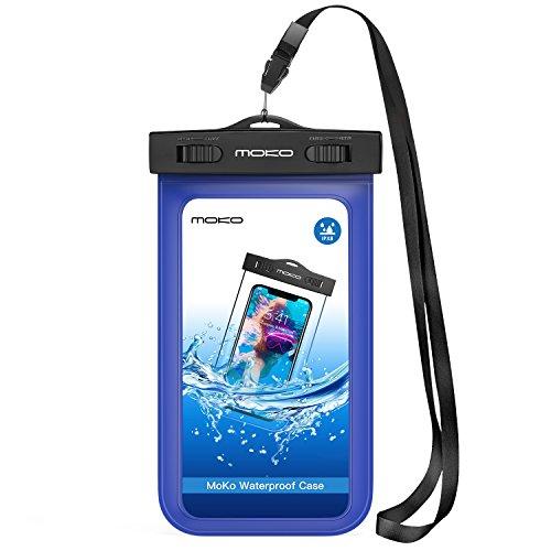 MoKo Wasserdichte Hülle Tasche Beachbag mit Halsband und Armband IPX8 Schutzhülle für iPhone 7/5S/5SE/6/6s/7 Plus, Samsung Galaxy S10/S10 Plus/S10e/S5/S6/S7/J5/A5, 4-5.7 Zoll Handy, Blau