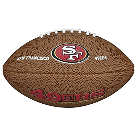 Wilson American Football, NFL Certified, Recreational Use, Mini Size, NFL TEAM LOGO SAN FRANCISCO 49ERS, Brown, WTF1533XBSF