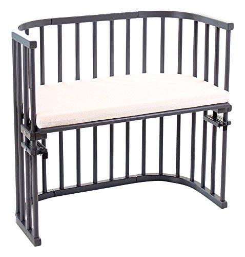 Babybay Kinderbett mit Umbauseiten Schaumstoff/Bambus Matratze, platin grau