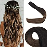 Easyouth Tape Extensions Balayage Echthaar Remy Kleber Beauty Hair für Mädchen (Farbe # 1B/6/27,50g,20 Zoll/50cm)