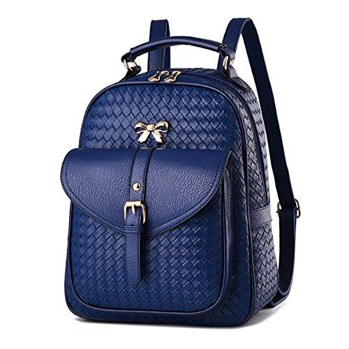 Frauen Rucksack Damen Rucksack koreanischen Wave weiblichen Tasche College Wind Pu Leder Tasche blau - Koreanischen Tasche