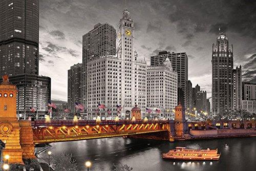 Chicago - Michigan Avenue - Poster Druck - Größe 91,5x61 cm + 1 Ü-Poster der Grösse 61x91,5cm