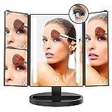 Miroir Maquillage LED Adjustable Écran Tactile, INKERSCOOP Miroir Lumineux Maquillage à Grossissement 1x / 2x / 3x / 10x, Rotation de 180° Libre Réglable, avec Charge câble USB et et Batterie