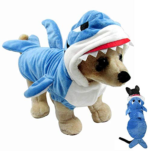 Gimilife Haustierkostüm, Hai-Kostüm, Halloween-Kostüm, Haustier Pyjama Kleidung Kapuzenmantel Welpen Wintermantel Hunde - Hunde Hai Kostüm Xxl