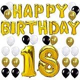 KUNGYO Happy Birthday Buchstaben Ballons +Nummer 18 Mylarfolie Ballon + 24 Stück Schwarzes Gold Weiß Luftballons -Perfekte 18 Jahre alte Geburtstagsfeier Dekoration Lieferungen