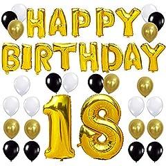 Idea Regalo - KUNGYO Happy Birthday Lettere Alfabeto Balloon+Numero 18 Mylar Foil Palloncini+24 Pezzi Oro Bianco Nero Lattice Balloons- Perfetto per Decorazioni di Festa di Compleanno di 18 Anni