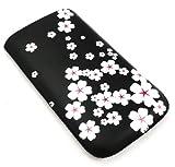 Emartbuy ® Sony Ericsson Walkman Mix Blanca Flor De Primera Calidad Funda De Cuero Pu / Case / Manga / Soporte (Tamaño Pequeño) Con Mecanismo De Lengüeta De Arrastre Y Protector De Pantalla