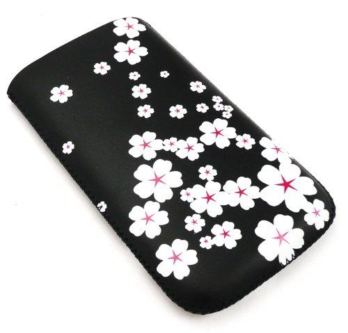 Emartbuy® Value Pack für Sony Ericsson K750 White Blossom Premium-PU-Leder-Tasche/Case/Sleeve/Holder (Größe klein) mit Pull Tab Mechanismus + Kompatibel Kfz-Ladegerät + LCD Screen Protector K750 Lcd