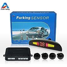 Auto Safety Sensor Aparcamiento Copia De Seguridad Radar Sistema Indicador de LUZ LED Sonido De alerta Con 4 Sensores (Negro)
