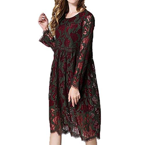 MCC abito Maniche lunghe grandi dimensioni a due colori di media lunghezza merletto del ricamo Hollow collo tondo della donna , red and green , xxxxl - Fiore Di Seta Accenti