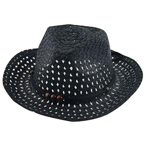 edora Hut für 2-6 Jahre Kinder Mädchen Junge Strand Sonnenhut Mode Atmungsaktiv Cowboy Mütze Faltbarer Strohhut Trilby Gangster Hut mit Sonnenschutz breite Krempe (Schwarz) (Mädchen Gangster Outfit)