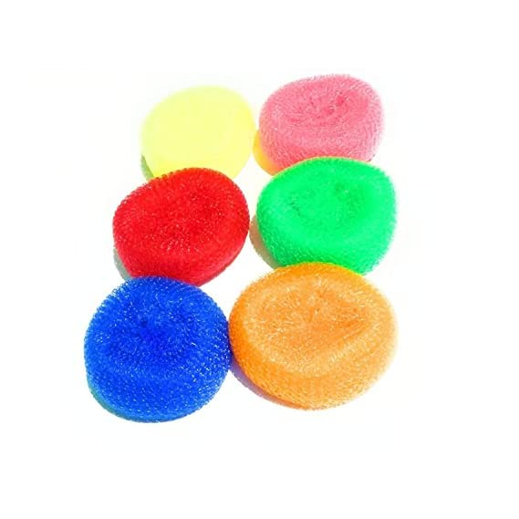 Aviyansh Enterprises Plastic Scrubber Round (Set of 6), Nylon Scrubbers for Teflon pots and Pans Cleans up Big Messes with Little Effort Safe for Non-Stick Cookware
