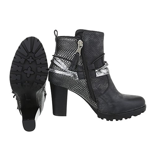 Cowboy- / Westernstiefel Damenschuhe Cowboy Stiefel Pump Western Style Reißverschluss Ital-Design Stiefel Schwarz JA3096-2
