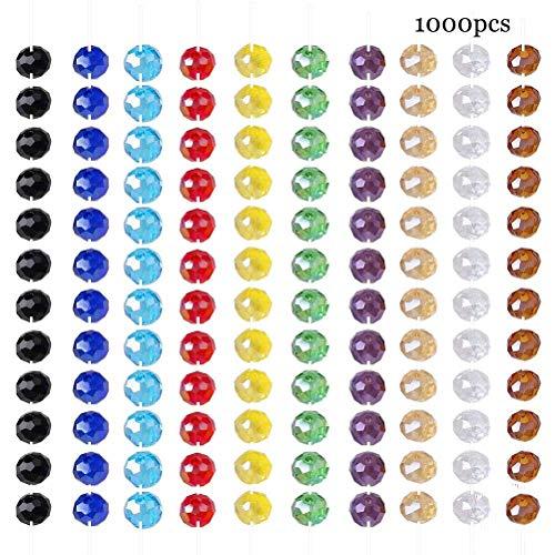 Perlas Vidrio,1000 Pack 6mm Redondo Colorido Perlas Abalorios Cuentas para Fabricación de...