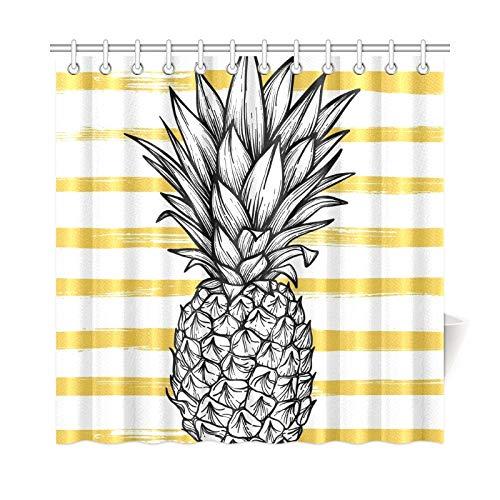 JOCHUAN Wohnkultur Bad Vorhang handgezeichnete Ananas gestreiften Polyestergewebe wasserdicht Duschvorhang für Badezimmer, 72 x 72 Zoll Duschvorhang Haken enthalten