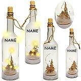 2 Stück _ LICHT Dekoflaschen - 5 Stück LED - Weihnachtsmotive & Winter - inkl. Name - 31 cm - Flaschen - Weihnachtsflaschen - Lichterflaschen mit Beleuchtung ..