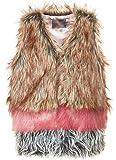 Creamie Traumhafte Kunstfellweste in Beige braun, Rosa und Grau innen Satin Modell EILEEN Size 158/164