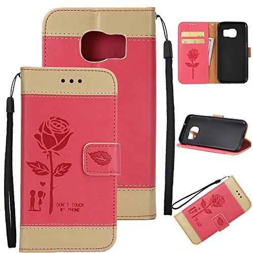 Dual Color Matching Premium PU Leder Flip Stand Case Cover mit Card Cash Slots und Lanyard für Samsung Galaxy S6 ( Color : Red ) Red
