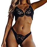 Sexy Lingerie, Anglewolf Women Steel Ring Lingerie Corset Lace Flowers Push Up Top Bra+Pants Underwear Set (S, Black)
