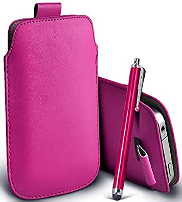 Great Deals on Click Sales®, Samsung Galaxy Ace S5830 - PU PULL TAB + Stylus Pen, Flip Grip Protective POUCH WALLET SKiN POCKET LEATHER CASE COVER FOR La Fleur, Hugo Boss (HOT PINK)